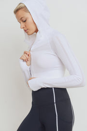Hybrid Seamless Perforated Crop Hoodie in White | Allure Apparel Co