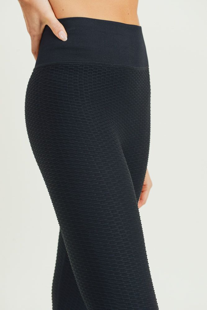 Jacquard & Ribbed Seamless High Waisted Leggings in Black | Allure Apparel Co
