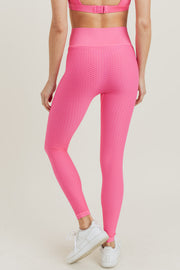 Jacquard & Ribbed Seamless High Waisted Leggings in Fuchsia | Allure Apparel Co
