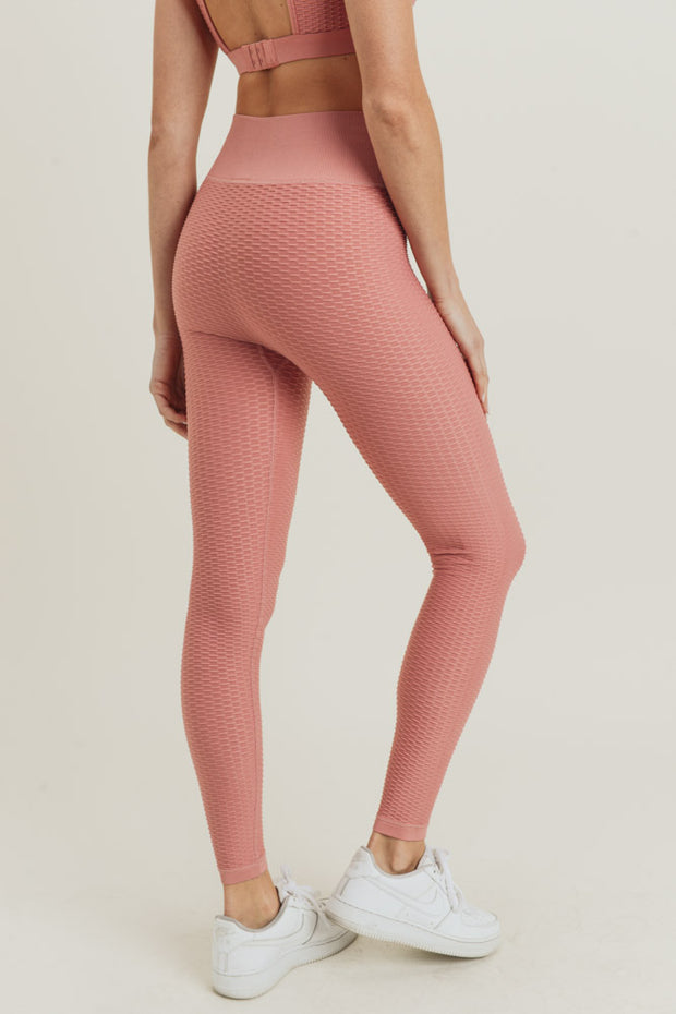 Jacquard & Ribbed Seamless High Waisted Leggings in Peach | Allure Apparel Co