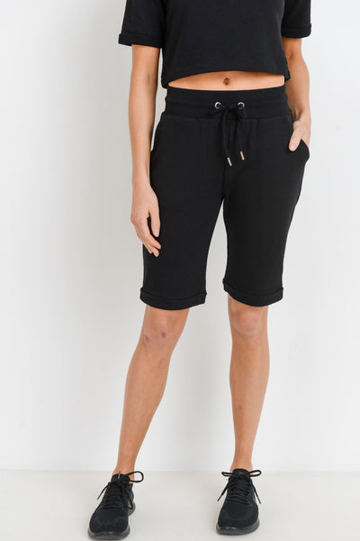 Midi Lounge Drawstring Shorts in Black | Allure Apparel Co