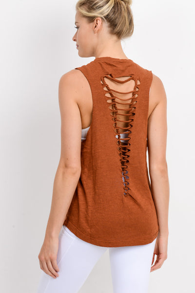 Cutout Strap Ladder Back Muscle Tee in Acorn | Allure Apparel Co