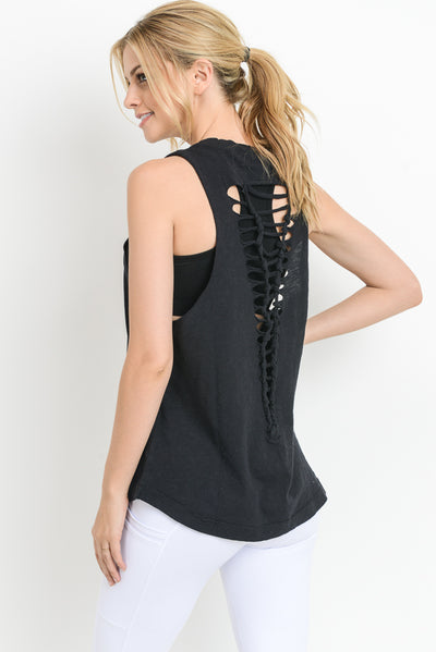 Cutout Strap Ladder Back Muscle Tee in Black | Allure Apparel Co