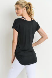 Essential Round Neck Cap Sleeve Shirt in Black | Allure Apparel Co