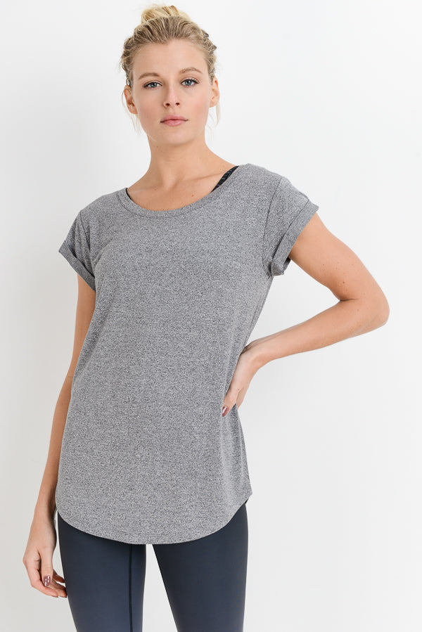 Essential Round Neck Cap Sleeve Shirt in Heather Grey | Allure Apparel Co