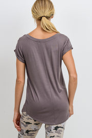 Essential Round Neck Cap Sleeve Shirt in Medium Mocha | Allure Apparel Co