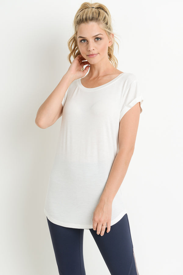 Essential Round Neck Cap Sleeve Shirt in White | Allure Apparel Co
