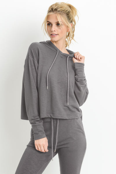 Cropped Hoodie Boxy Sweatshirt in Dark Grey | Allure Apparel Co