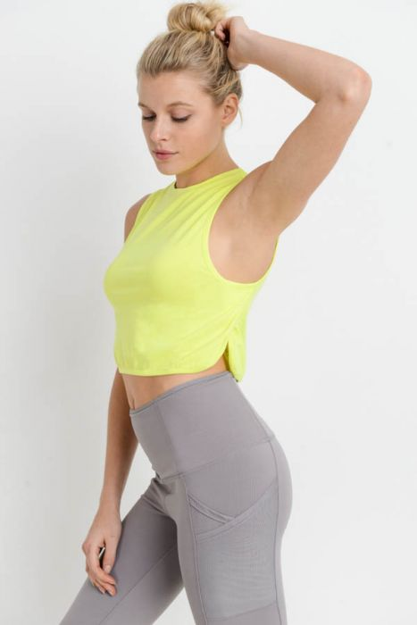 Side Overlay Crop Supima Cotton Tank Top in Neon Yellow | Allure Apparel Co