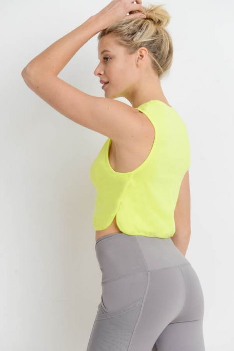 Our Women's Side Overlay Crop Supima Cotton Tank Top in Neon Yellow | Allure Apparel Co