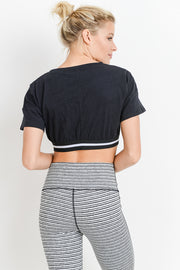 Striped Hem Crop Top in Black | Allure Apparel Co