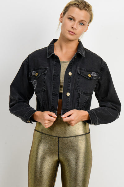 Lightly Distressed Crop Denim Jacket in Charcoal Grey | Allure Apparel Co