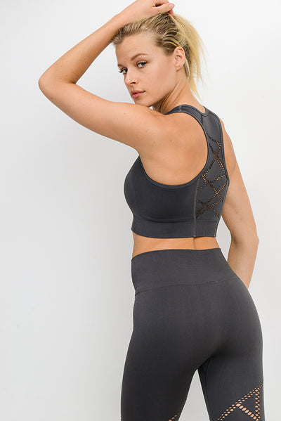 Lightning Mesh Seamless Hybrid Sports Bra in Charcoal Grey | Allure Apparel Co