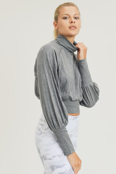 Long Sleeve Raglan Turtleneck Crop Top in Heather Grey | Allure Apparel Co
