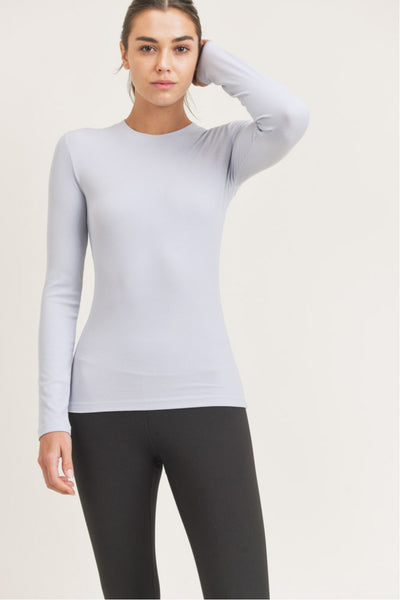 Long-Sleeved Essential Micro-Ribbed Athletic Top in Light Blue | Allure Apparel Co