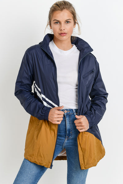Longline Color Block Hooded Windbreaker in Dark Navy | Allure Apparel Co