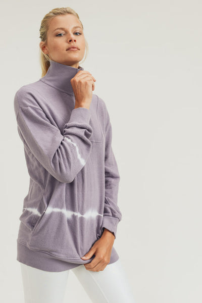Longline Half-Zip Tie-Dye Pullover in Lilac | Allure Apparel Co