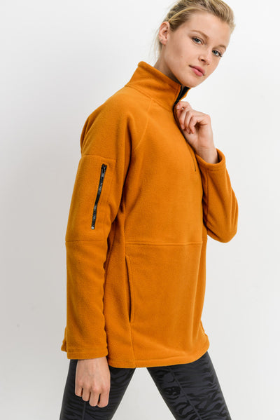 Longline High Neck Fleece Jacket in Ambergold | Allure Apparel Co