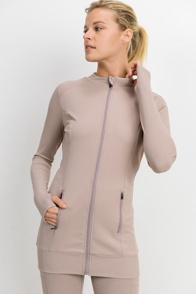 Longline Ribbed Active Jacket in Almond | Allure Apparel Co