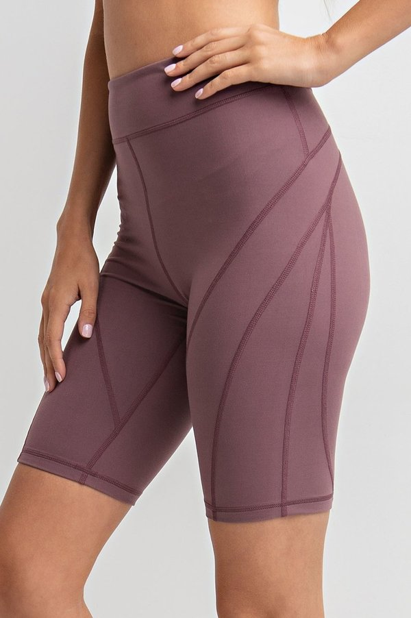 Detailed High-Rise Butter Biker Shorts in Mauve | Allure Apparel Co