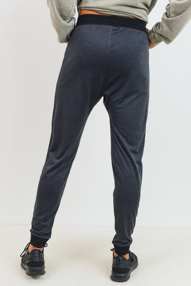 Sleek Active Cuffed Joggers in Melange | Allure Apparel Co