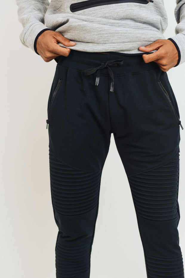 Ribbed Moto Joggers in Black | Allure Apparel Co