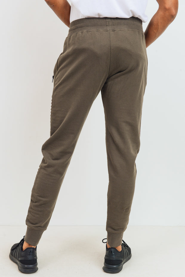 Ribbed Moto Joggers in Olive | Allure Apparel Co