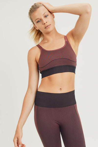 Mermaid Hybrid Seamless Sports Bra in Burgundy | Allure Apparel Co