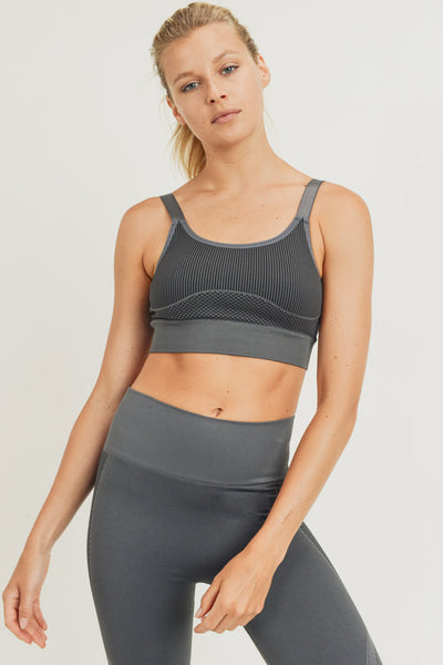 Mermaid Hybrid Seamless Sports Bra in Charcoal | Allure Apparel Co