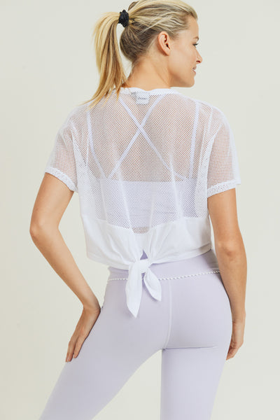 Mesh Back Tie Crop Top in White | Allure Apparel Co