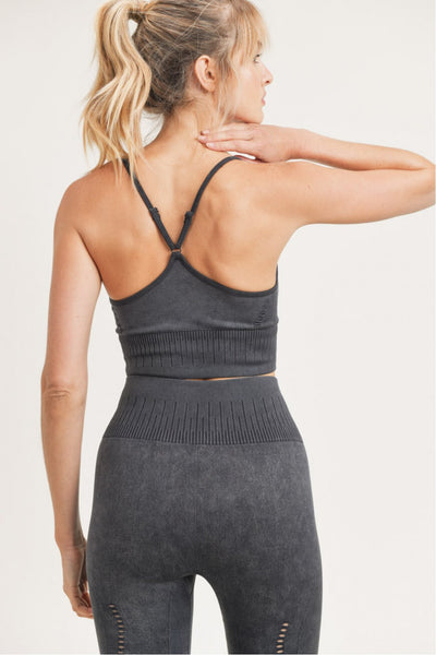 Mesh Ribbed Seamless Mineral Cami Sports Bra in Black | Allure Apparel Co
