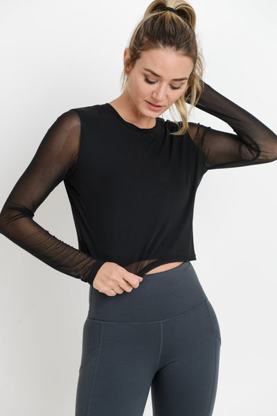 Mesh Sleeve Overlay Crop Top in Black | Allure Apparel Co