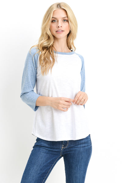 Midi-Sleeve Raglan Top in White with Sky Blue | Allure Apparel Co