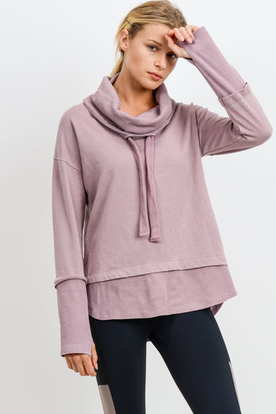 Mineral Wash Cowl Neck Pullover in Dusty Pink | Allure Apparel Co