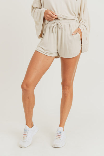 Mineral Wash French Terry Lounge Shorts in Natural | Allure Apparel Co