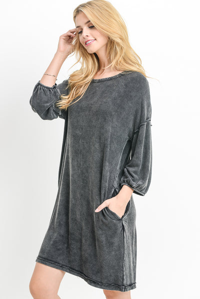 Mineral Wash Long-Sleeve Midi Dress in Black | Allure Apparel Co