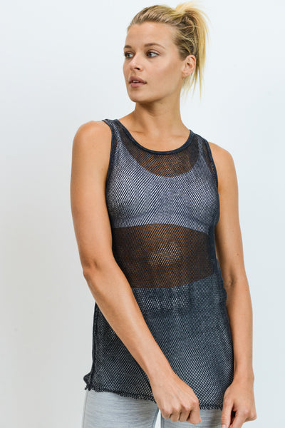 Mineral Wash Racerback Mesh Longline Tank Top in Black | Allure Apparel Co