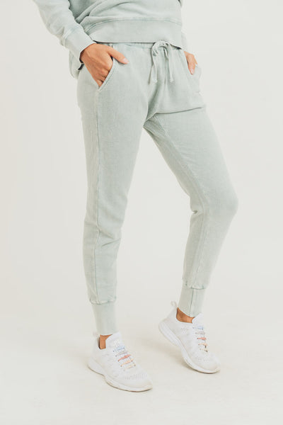 Mineral-Wash Terry Sweatpants in Light Sage | Allure Apparel Co
