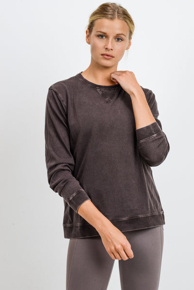 Mineral Wash V-Stitch Cotton Pullover in Coffee | Allure Apparel Co