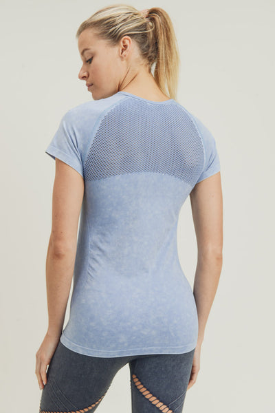 Mineral-Washed Perforated Seamless Raglan Shirt in Blue | Allure Apparel Co
