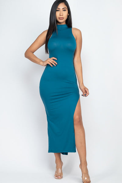 Mock Neck Maxi Dress in Teal | Allure Apparel Co