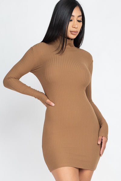 Mock Neck Ribbed Bodycon Mini Dress in Mocha | Allure Apparel Co