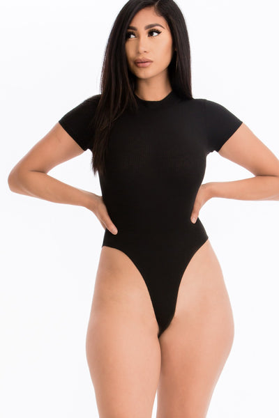 Mock Neck Solid Ribbed Bodysuit in Black | Allure Apparel Co
