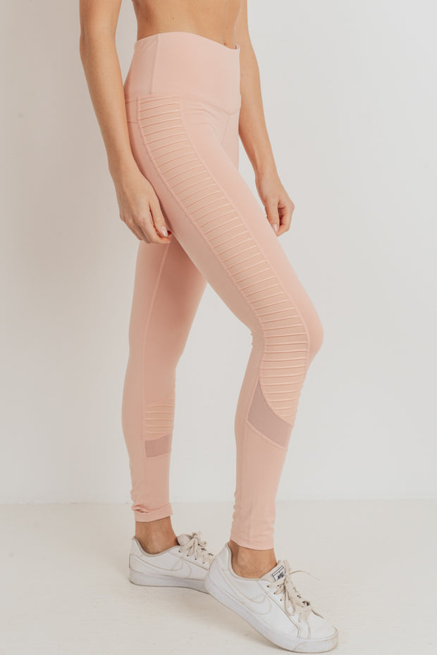 Moto Glide Mesh Full Leggings in Cantaloupe | Allure Apparel Co