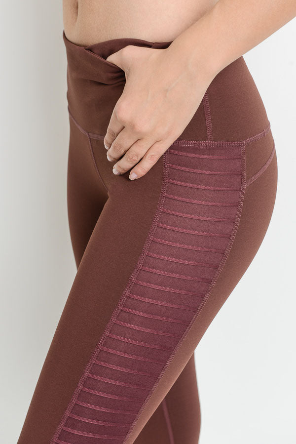 Moto Glide Mesh Full Leggings in Deep Plum | Allure Apparel Co