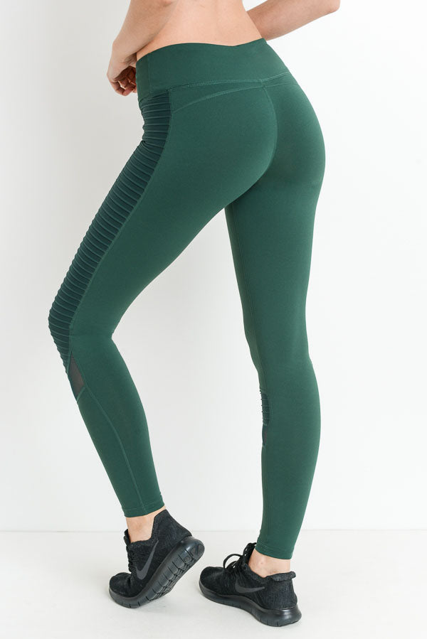 Moto Glide Mesh Full Leggings in Hunter Green | Allure Apparel Co