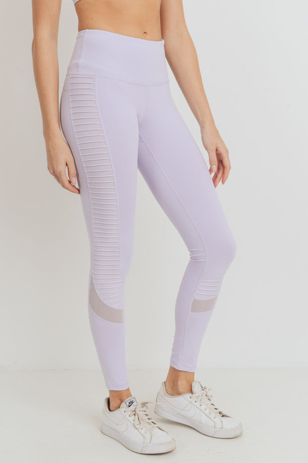 Moto Glide Mesh Full Leggings in Lavender | Allure Apparel Co