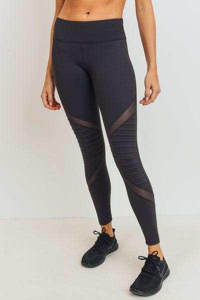 Moto Mesh Full Leggings in Charcoal Grey | Allure Apparel Co