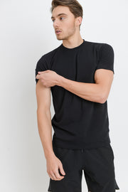 Cotton Blend Crewneck Essential Tee in Black | Allure Apparel Co