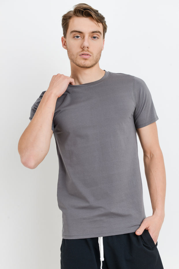 Cotton Blend Crewneck Essential Tee in Light Grey | Allure Apparel Co